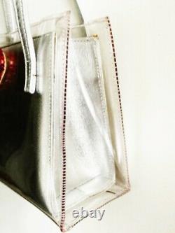 Vintage STUART WEITZMAN Silver Clutch In Clear Vinyl Bag with Red Swarovski Heart