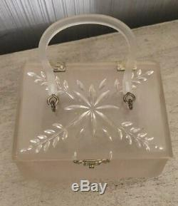 Vintage Salesman Sample Small 4.5 Frosted Clear Lucite Purse Plastic Hand Bag