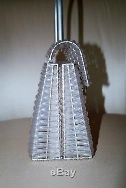 Vintage Salvatore Ferragamo Woven Plastic Gancini Handbag + Nickle Hardw