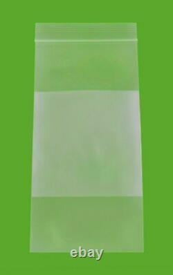 White Block Reclosable Bags 4 x 8 2 Mil Clear Top Seal Polybag 10000 Pcs