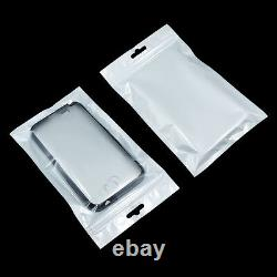 White Clear Plastic Retail Pack Bags Reclosable for Zip Pouches Hang Hole Lock