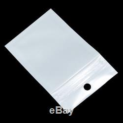 White Zip Lock Plastic Pouches Hang Hole Front Clear Electronic Accessories Bags