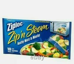 Ziploc Zip N Steam Medium Bags(6Packs)=60 Bag New