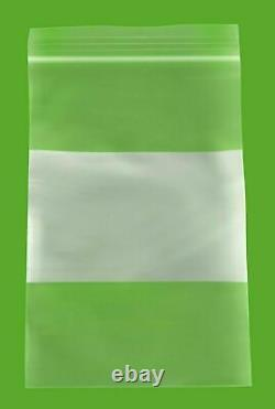 Zipper Bags with White Block 4 x 6 4 Mil Clear Writable Pouches 16000 Pieces